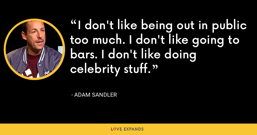 I don't like being out in public too much. I don't like going to bars. I don't like doing celebrity stuff. - Adam Sandler