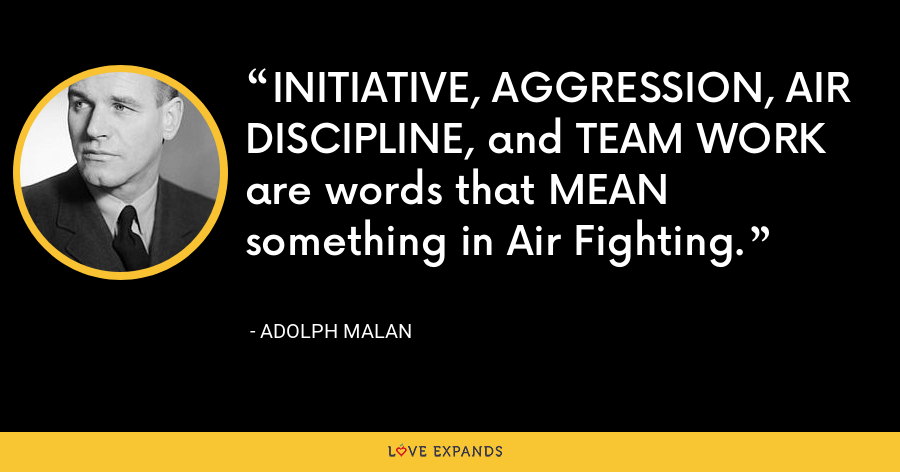 INITIATIVE, AGGRESSION, AIR DISCIPLINE, and TEAM WORK are words that MEAN something in Air Fighting. - Adolph Malan