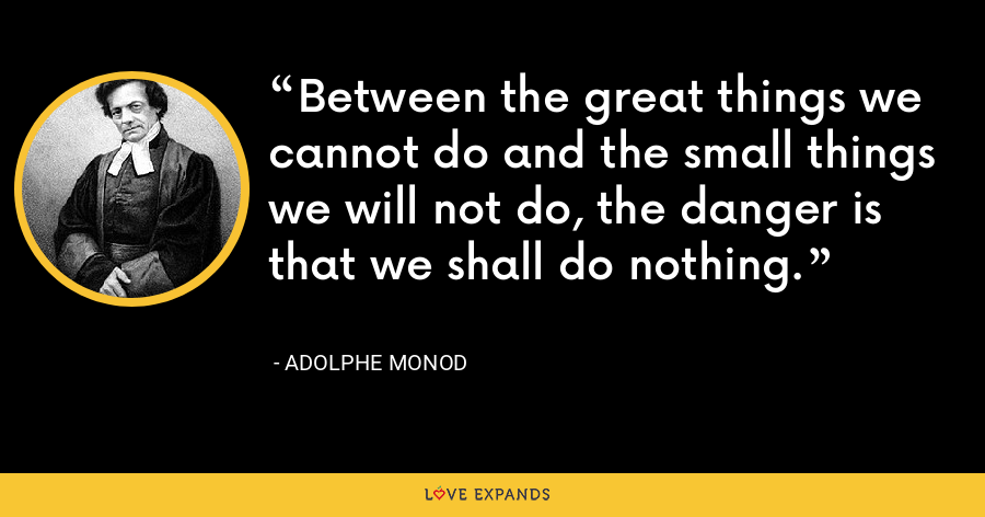 Between the great things we cannot do and the small things we will not do, the danger is that we shall do nothing. - Adolphe Monod