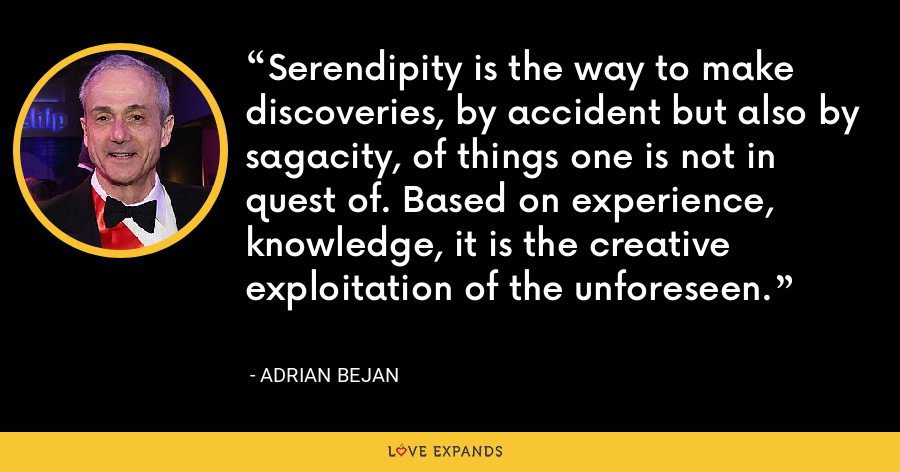 Serendipity is the way to make discoveries, by accident but also by sagacity, of things one is not in quest of. Based on experience, knowledge, it is the creative exploitation of the unforeseen. - Adrian Bejan