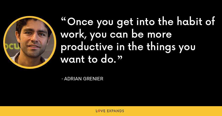 Once you get into the habit of work, you can be more productive in the things you want to do. - Adrian Grenier