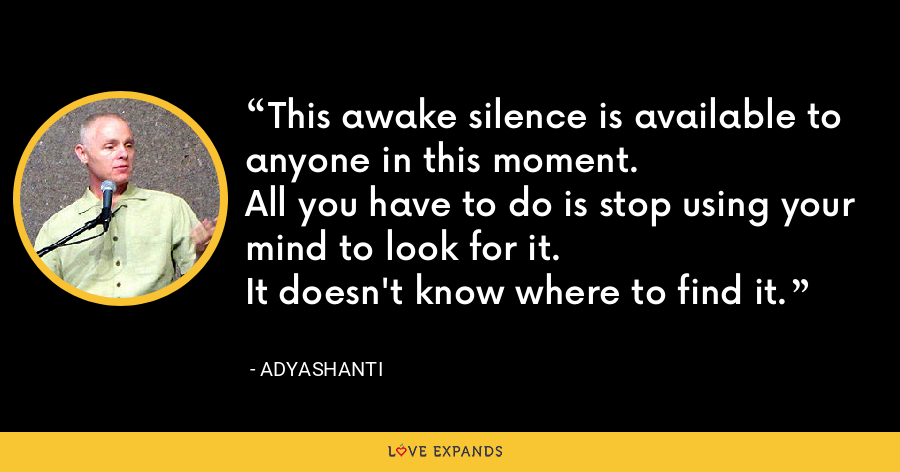 This awake silence is available to anyone in this moment. All you have to do is stop using your mind to look for it. It doesn't know where to find it. - Adyashanti