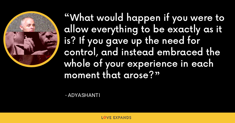 What would happen if you were to allow everything to be exactly as it is? If you gave up the need for control, and instead embraced the whole of your experience in each moment that arose? - Adyashanti