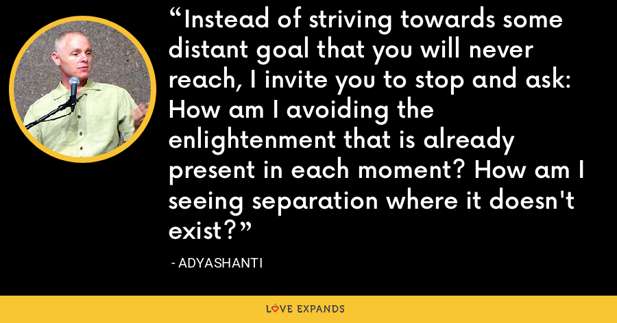 Instead of striving towards some distant goal that you will never reach, I invite you to stop and ask: How am I avoiding the enlightenment that is already present in each moment? How am I seeing separation where it doesn't exist? - Adyashanti