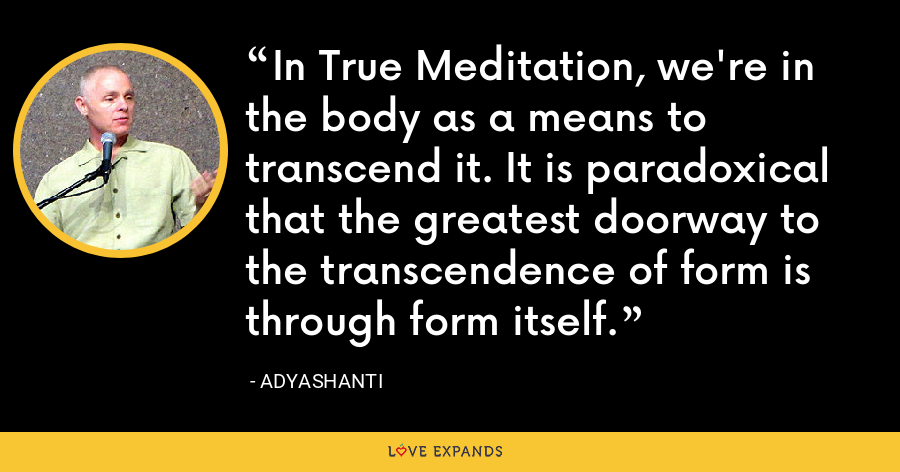 In True Meditation, we're in the body as a means to transcend it. It is paradoxical that the greatest doorway to the transcendence of form is through form itself. - Adyashanti