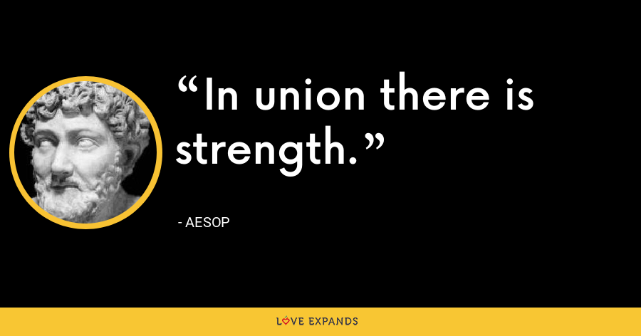 In union there is strength. - Aesop