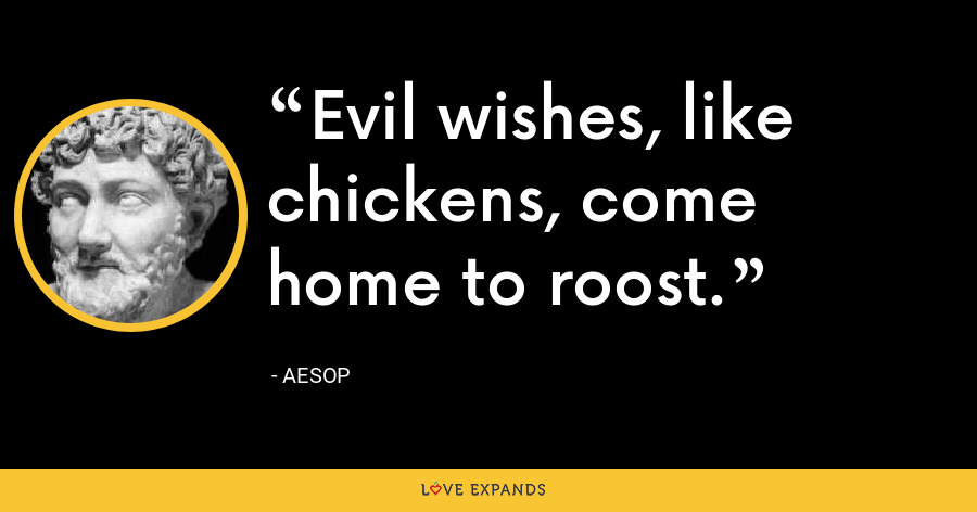 Evil wishes, like chickens, come home to roost. - Aesop