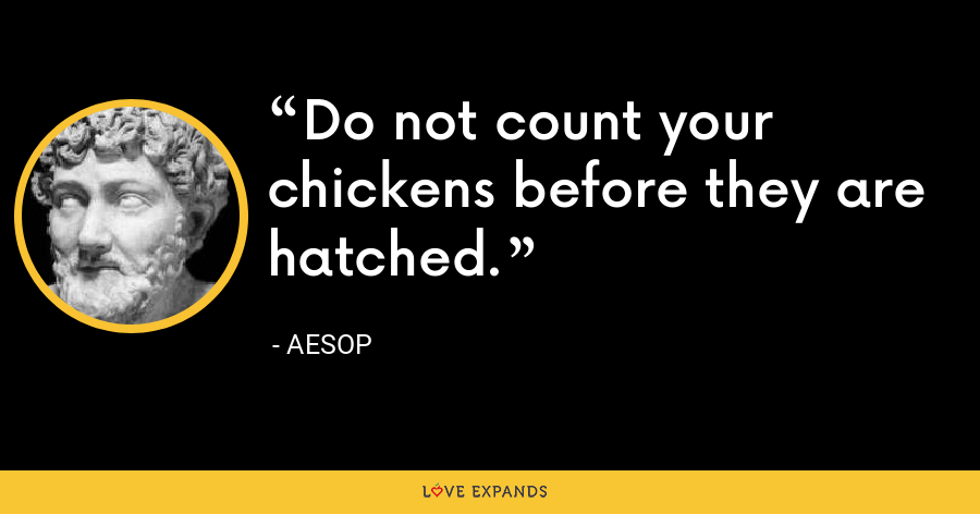 Do not count your chickens before they are hatched. - Aesop