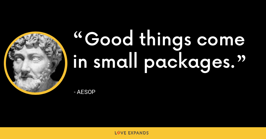 Good things come in small packages. - Aesop
