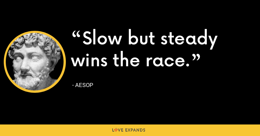 Slow but steady wins the race. - Aesop