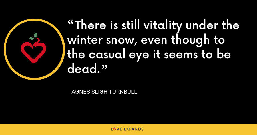 There is still vitality under the winter snow, even though to the casual eye it seems to be dead. - Agnes Sligh Turnbull