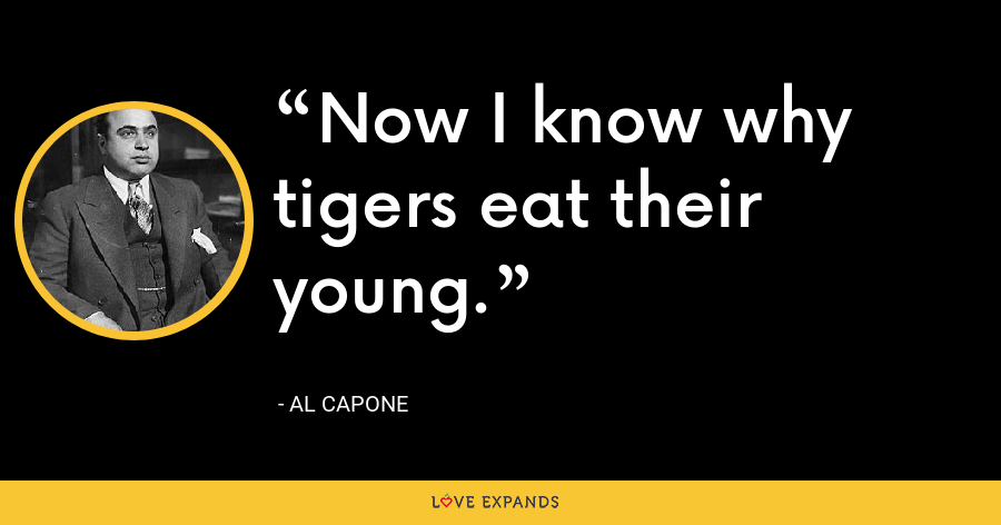 Now I know why tigers eat their young. - Al Capone