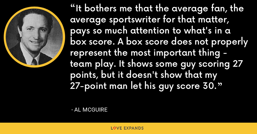 It bothers me that the average fan, the average sportswriter for that matter, pays so much attention to what's in a box score. A box score does not properly represent the most important thing - team play. It shows some guy scoring 27 points, but it doesn't show that my 27-point man let his guy score 30. - Al McGuire