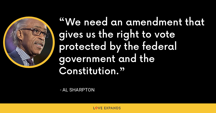 We need an amendment that gives us the right to vote protected by the federal government and the Constitution. - Al Sharpton