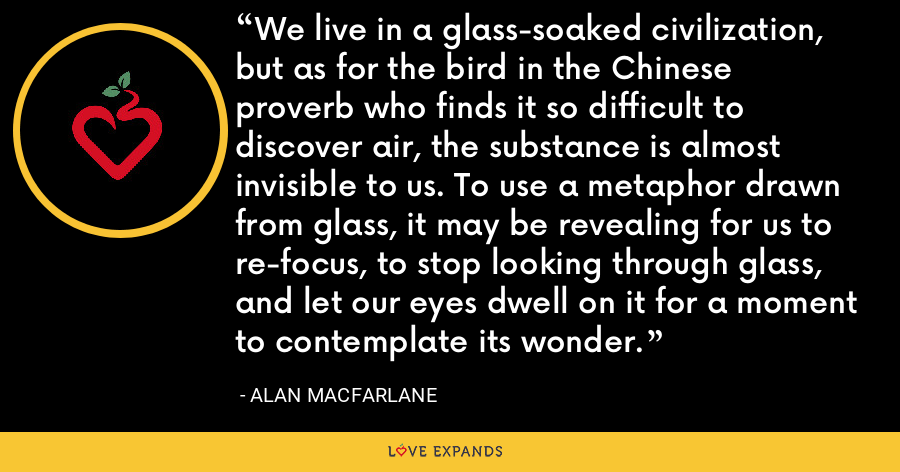 We live in a glass-soaked civilization, but as for the bird in the Chinese proverb who finds it so difficult to discover air, the substance is almost invisible to us. To use a metaphor drawn from glass, it may be revealing for us to re-focus, to stop looking through glass, and let our eyes dwell on it for a moment to contemplate its wonder. - Alan Macfarlane
