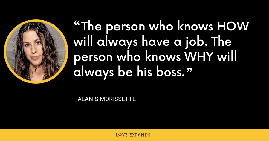The person who knows HOW will always have a job. The person who knows WHY will always be his boss. - Alanis Morissette