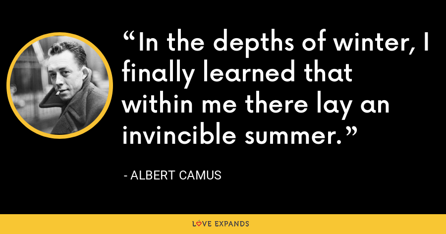 In the depths of winter, I finally learned that within me there lay an invincible summer. - Albert Camus