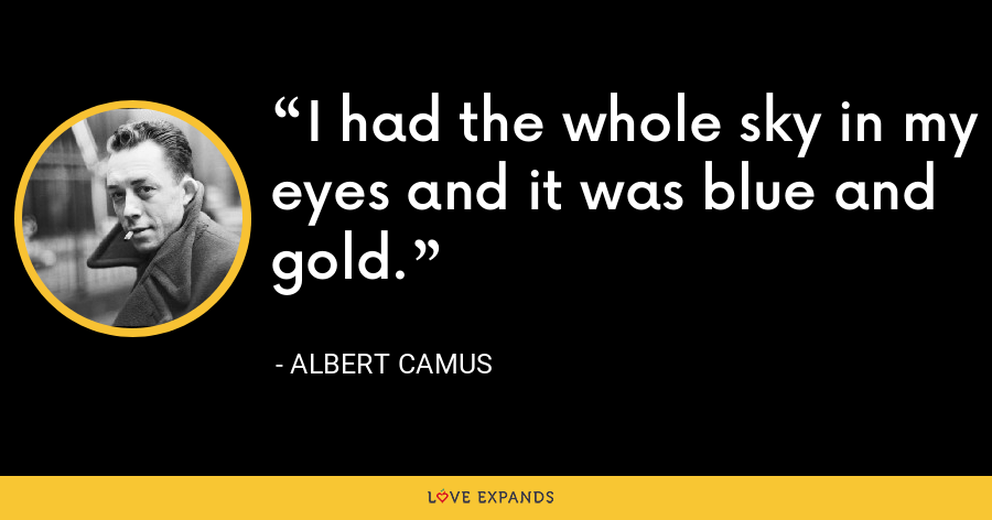 I had the whole sky in my eyes and it was blue and gold. - Albert Camus