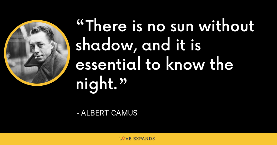 There is no sun without shadow, and it is essential to know the night. - Albert Camus