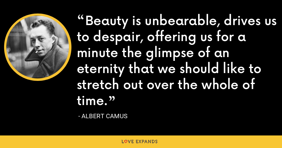 Beauty is unbearable, drives us to despair, offering us for a minute the glimpse of an eternity that we should like to stretch out over the whole of time. - Albert Camus
