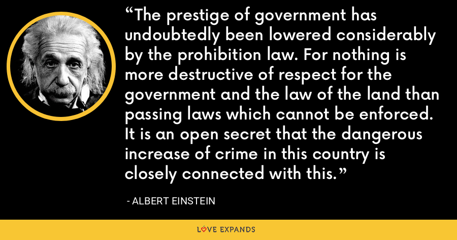 The prestige of government has undoubtedly been lowered considerably by the prohibition law. For nothing is more destructive of respect for the government and the law of the land than passing laws which cannot be enforced. It is an open secret that the dangerous increase of crime in this country is closely connected with this. - Albert Einstein
