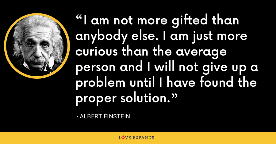 I am not more gifted than anybody else. I am just more curious than the average person and I will not give up a problem until I have found the proper solution. - Albert Einstein