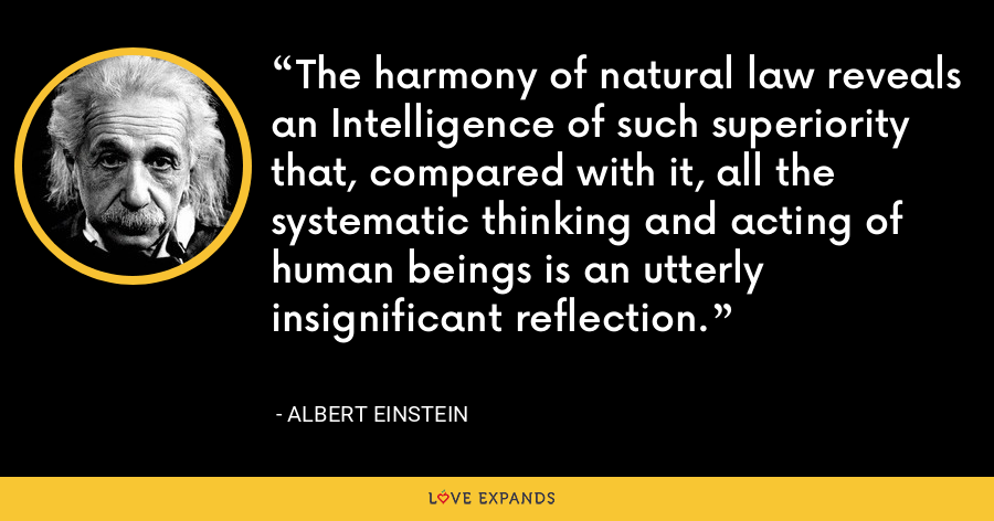 The harmony of natural law reveals an Intelligence of such superiority that, compared with it, all the systematic thinking and acting of human beings is an utterly insignificant reflection. - Albert Einstein