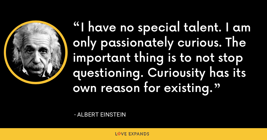 I have no special talent. I am only passionately curious. The important thing is to not stop questioning. Curiousity has its own reason for existing. - Albert Einstein