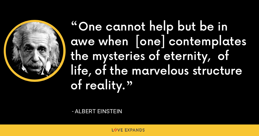 One cannot help but be in awe when  [one] contemplates the mysteries of eternity,  of life, of the marvelous structure of reality. - Albert Einstein