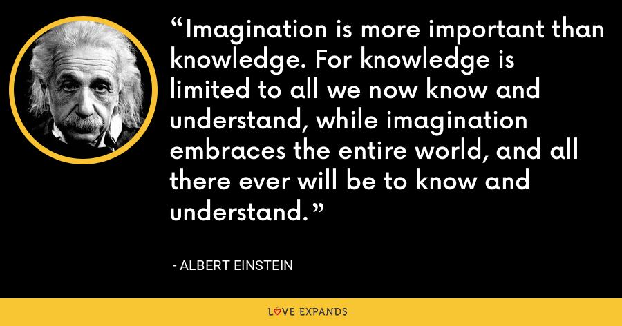 Imagination is more important than knowledge. For knowledge is limited to all we now know and understand, while imagination embraces the entire world, and all there ever will be to know and understand. - Albert Einstein
