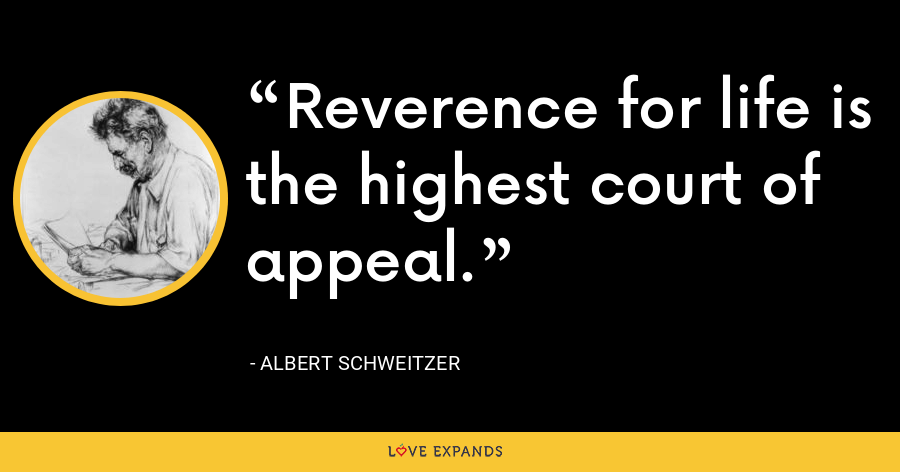 Reverence for life is the highest court of appeal. - Albert Schweitzer