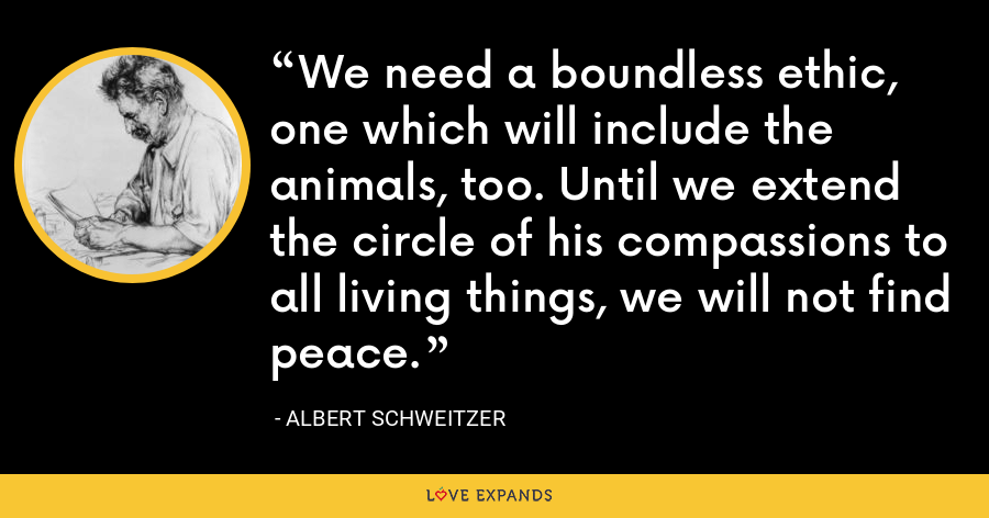 We need a boundless ethic, one which will include the animals, too. Until we extend the circle of his compassions to all living things, we will not find peace. - Albert Schweitzer