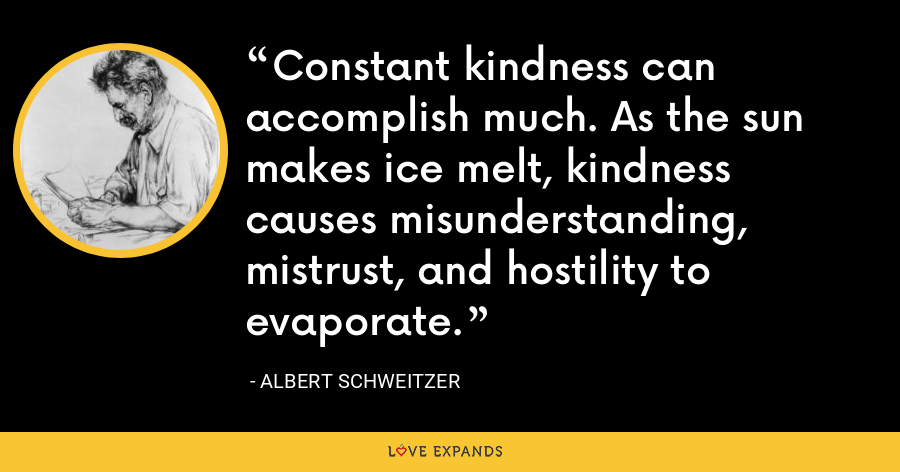 Constant kindness can accomplish much. As the sun makes ice melt, kindness causes misunderstanding, mistrust, and hostility to evaporate. - Albert Schweitzer
