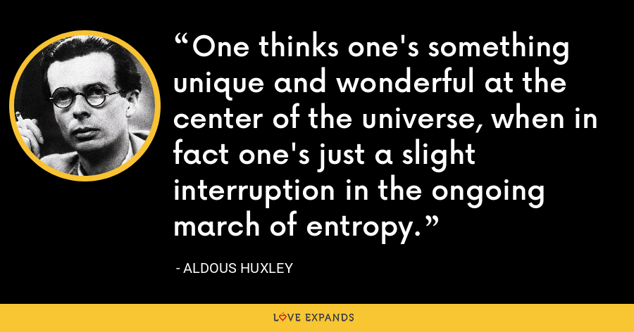 One thinks one's something unique and wonderful at the center of the universe, when in fact one's just a slight interruption in the ongoing march of entropy. - Aldous Huxley