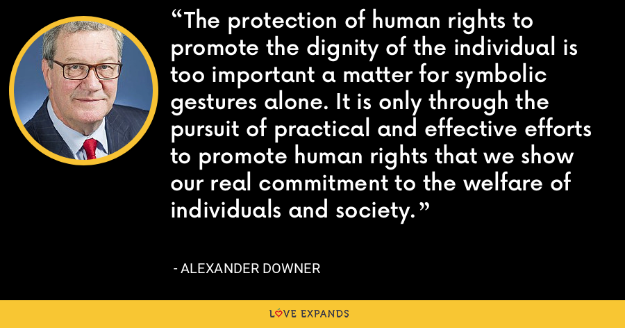 The protection of human rights to promote the dignity of the individual is too important a matter for symbolic gestures alone. It is only through the pursuit of practical and effective efforts to promote human rights that we show our real commitment to the welfare of individuals and society. - Alexander Downer