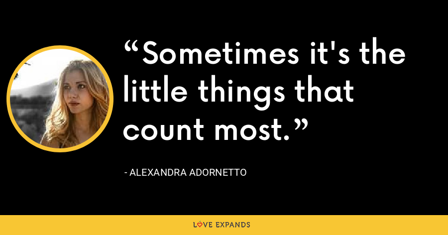 Sometimes it's the little things that count most. - Alexandra Adornetto
