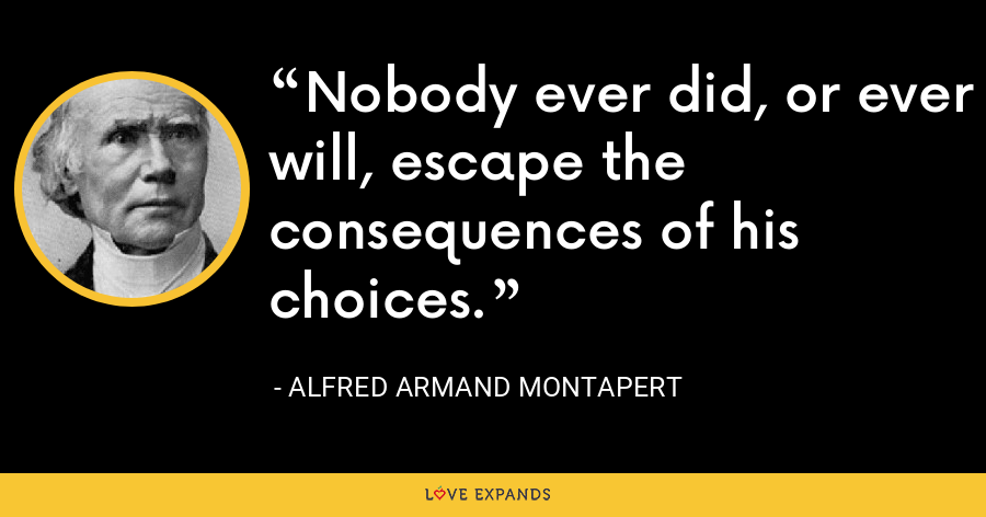 Nobody ever did, or ever will, escape the consequences of his choices. - Alfred Armand Montapert
