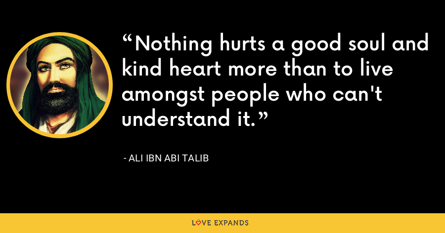 Nothing hurts a good soul and kind heart more than to live amongst people who can't understand it. - Ali ibn Abi Talib