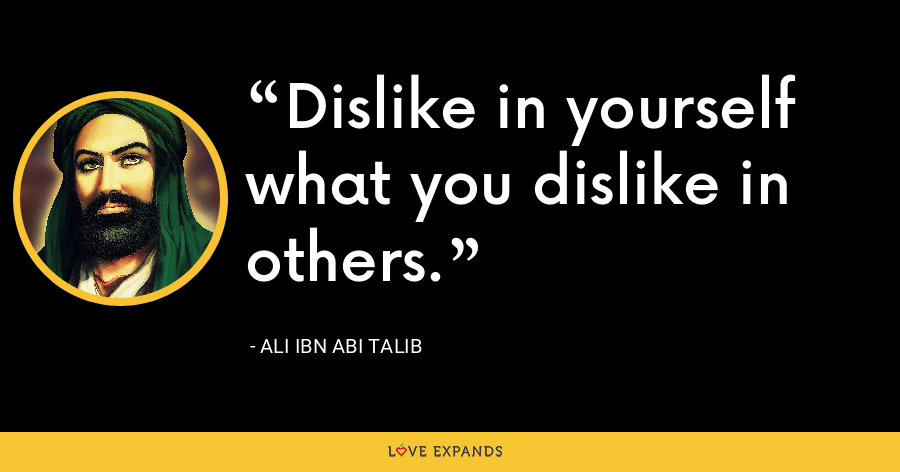 Dislike in yourself what you dislike in others. - Ali ibn Abi Talib