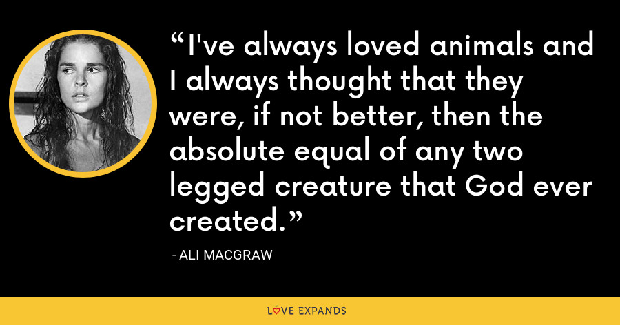 I've always loved animals and I always thought that they were, if not better, then the absolute equal of any two legged creature that God ever created. - Ali MacGraw