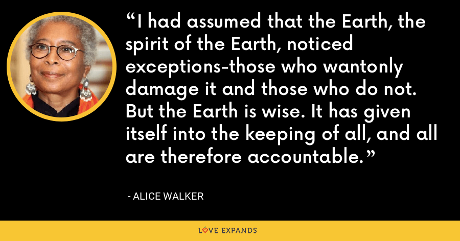I had assumed that the Earth, the spirit of the Earth, noticed exceptions-those who wantonly damage it and those who do not. But the Earth is wise. It has given itself into the keeping of all, and all are therefore accountable. - Alice Walker