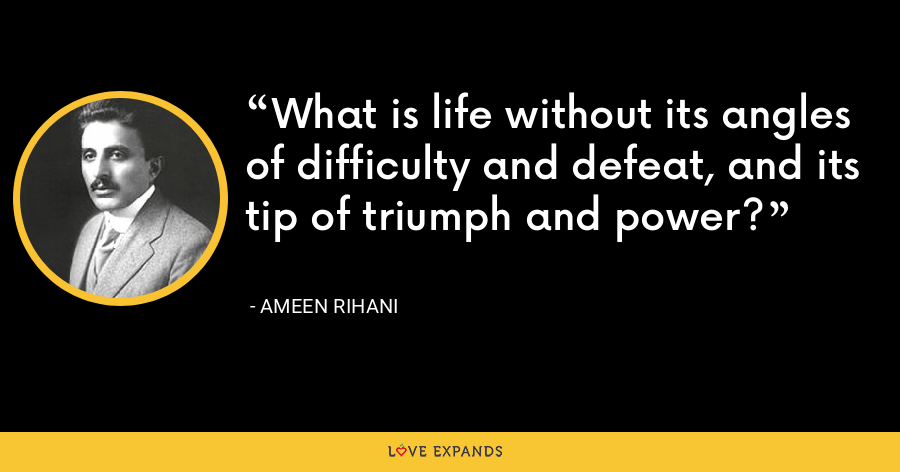 What is life without its angles of difficulty and defeat, and its tip of triumph and power? - Ameen Rihani
