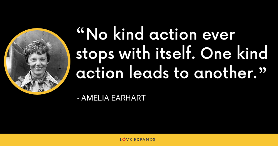 No kind action ever stops with itself. One kind action leads to another. - Amelia Earhart