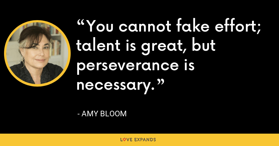 You cannot fake effort; talent is great, but perseverance is necessary. - Amy Bloom
