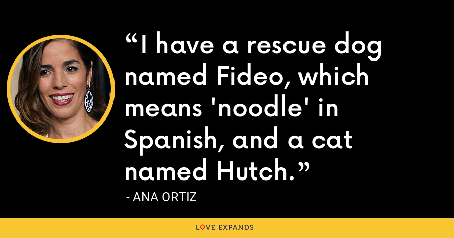 I have a rescue dog named Fideo, which means 'noodle' in Spanish, and a cat named Hutch. - Ana Ortiz
