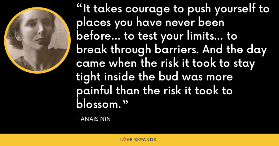 It takes courage to push yourself to places you have never been before... to test your limits... to break through barriers. And the day came when the risk it took to stay tight inside the bud was more painful than the risk it took to blossom. - Anaïs Nin