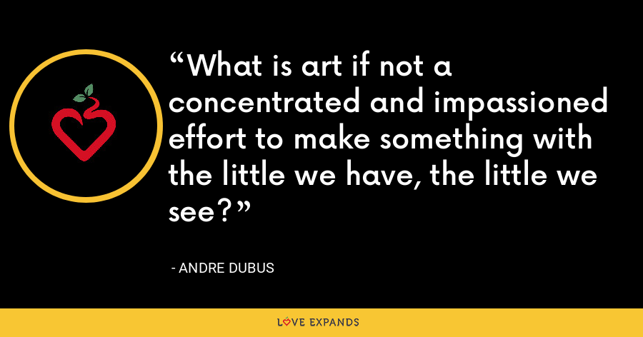 What is art if not a concentrated and impassioned effort to make something with the little we have, the little we see? - Andre Dubus