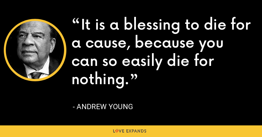 It is a blessing to die for a cause, because you can so easily die for nothing. - Andrew Young
