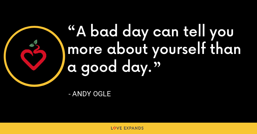 A bad day can tell you more about yourself than a good day. - Andy Ogle
