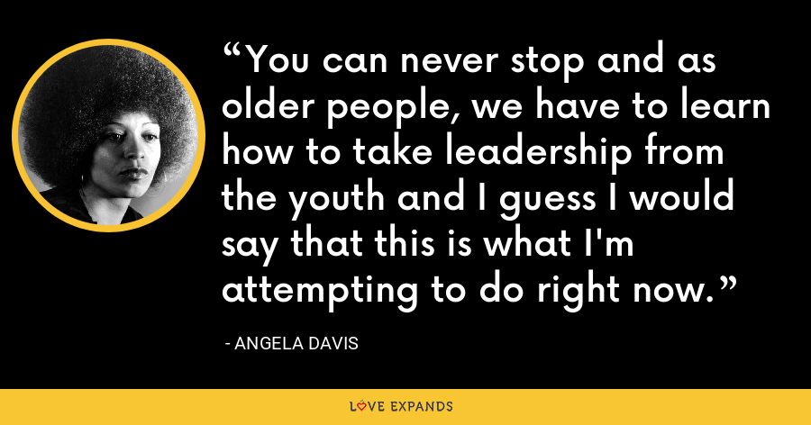 You can never stop and as older people, we have to learn how to take leadership from the youth and I guess I would say that this is what I'm attempting to do right now. - Angela Davis